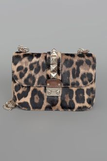 Valentino Rock Star Studded Flap Bag W-Chain Leopard - Lyst
