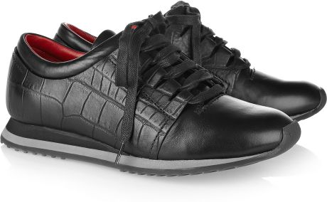 Alexander Wang Crocprint Leather Sneakers in Black - Lyst