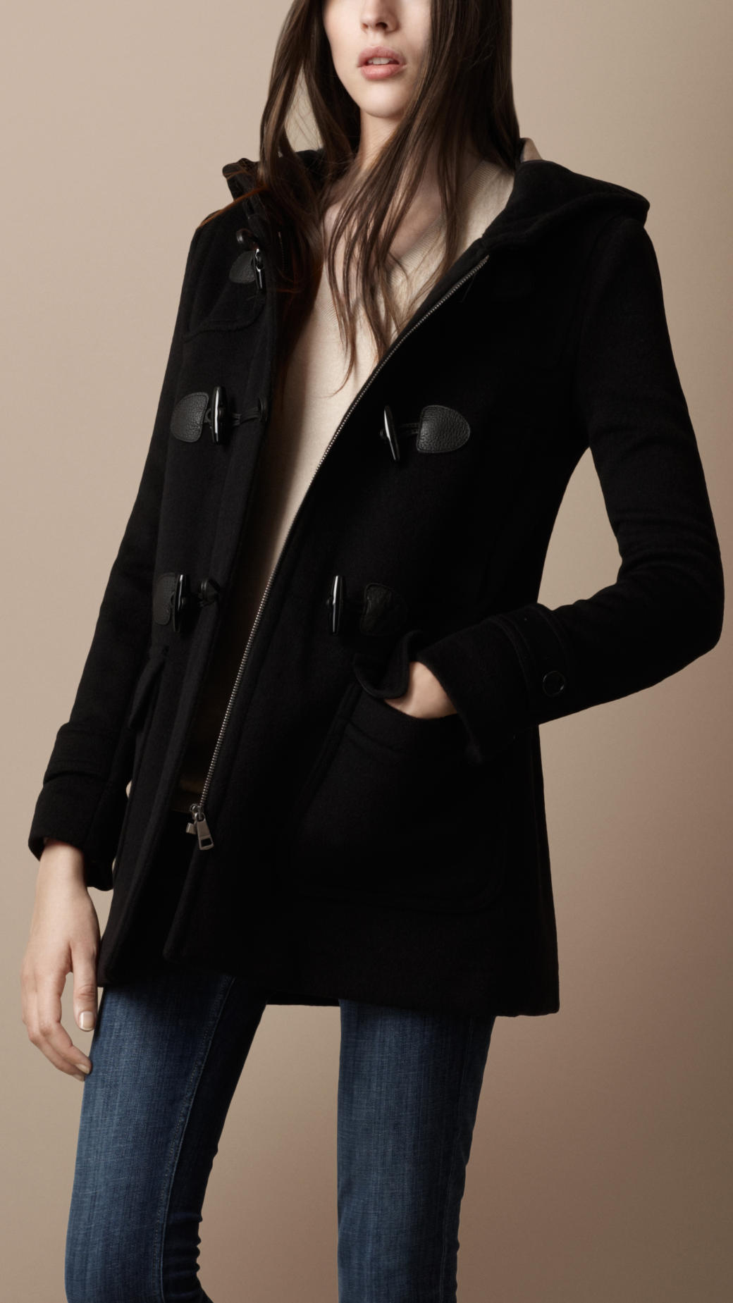 Burberry brit Wool Duffle Coat in Black | Lyst