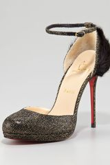 Christian Louboutin Crazy Fur Anklestrap Pump Black - Lyst