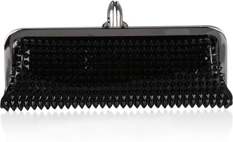 Christian Louboutin Miss Loubi Spiked Patent Leather Clutch in Black - Lyst