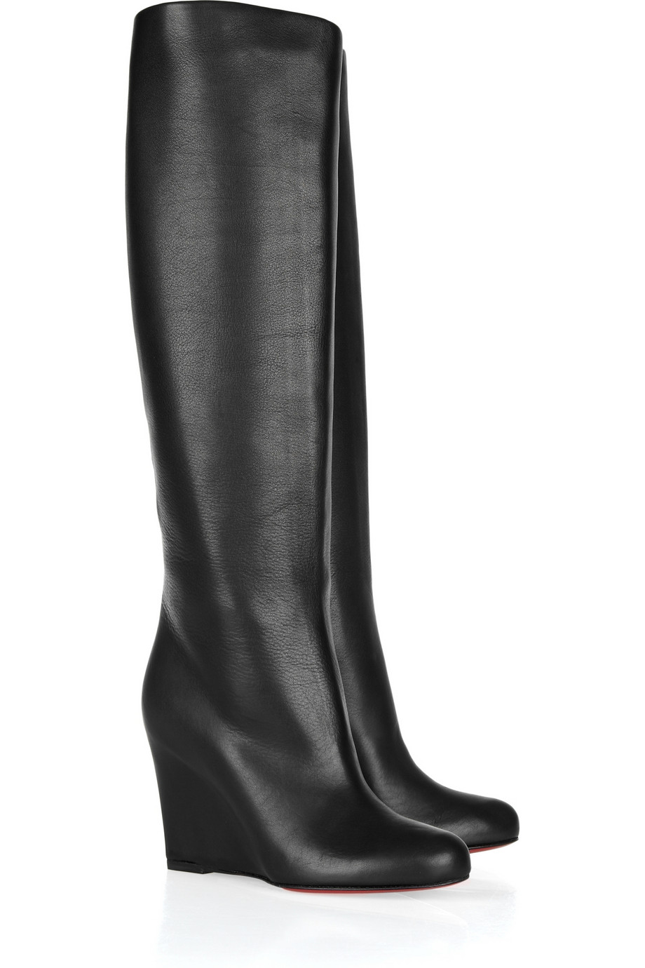 christian louboutin zepita 85 leather wedge boots in black