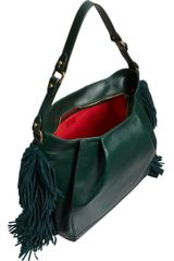 Christian Louboutin Justine Fringed Hobo in Green (red) - Lyst