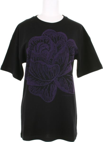 Christopher Kane Cotton Tshirt with A Rose Flocked Pattern On Front in Purple - Lyst
