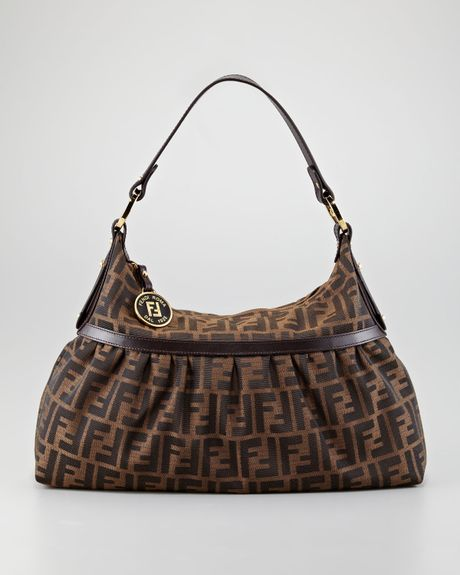 Fendi Large Chef Zucca Hobo in Brown (brown trim) - Lyst