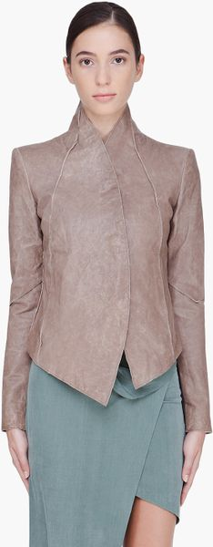 Helmut Lang Cropped Taupe Leather Jacket in Brown (taupe) - Lyst