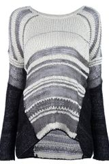 Helmut Lang Textured Loose Sweater in Gray (white) - Lyst