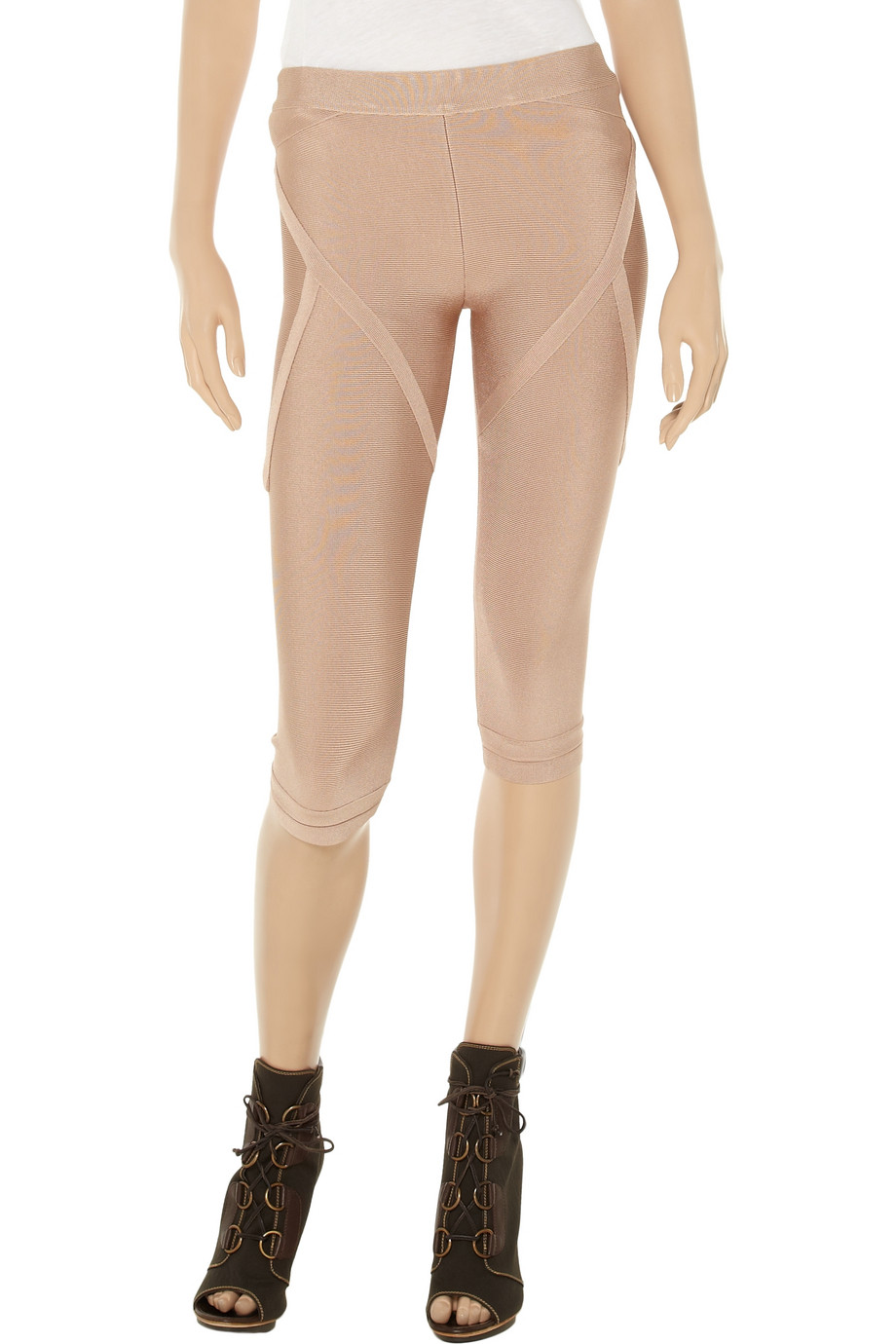 5406c5bbb8b1 Lyst - Hervé Léger Cropped Bandage Leggings in Natural