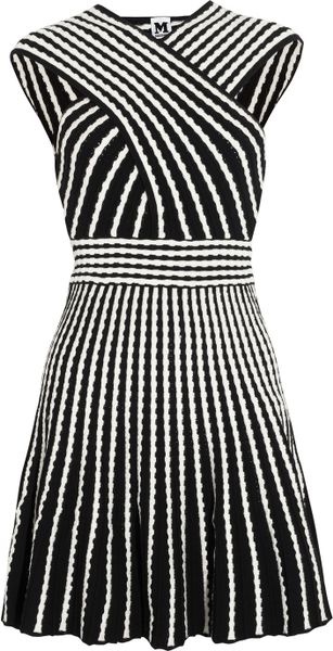 M Missoni Two Tone Knitted Dress in White (black)