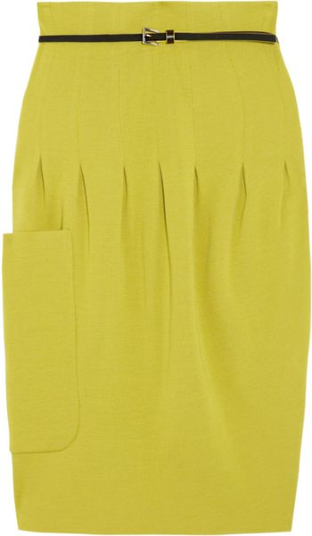 M Missoni Pleated Wool Blend Skirt in Yellow (chartreuse)
