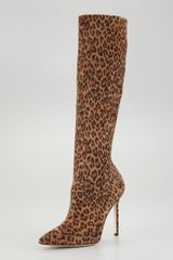 Manolo Blahnik Leopardprint Stretch Suede Boot - Lyst