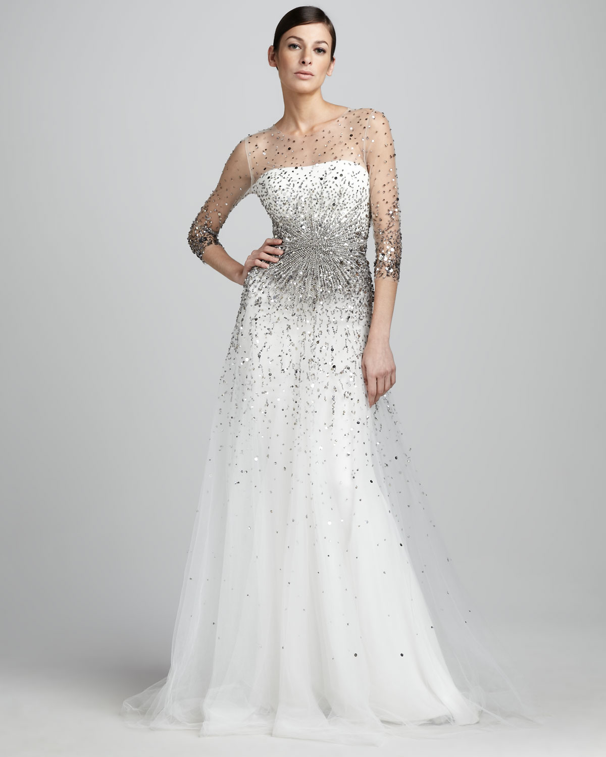 Marchesa Sequined Illusion Gown In White