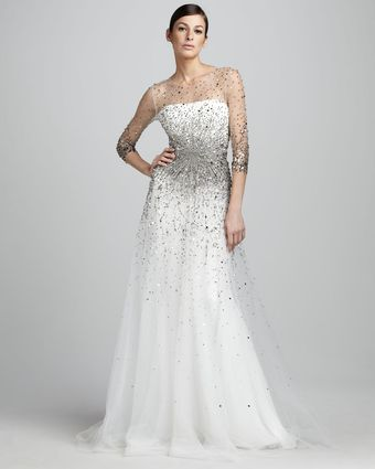 Marchesa Couture Sequined Illusion Gown - Lyst