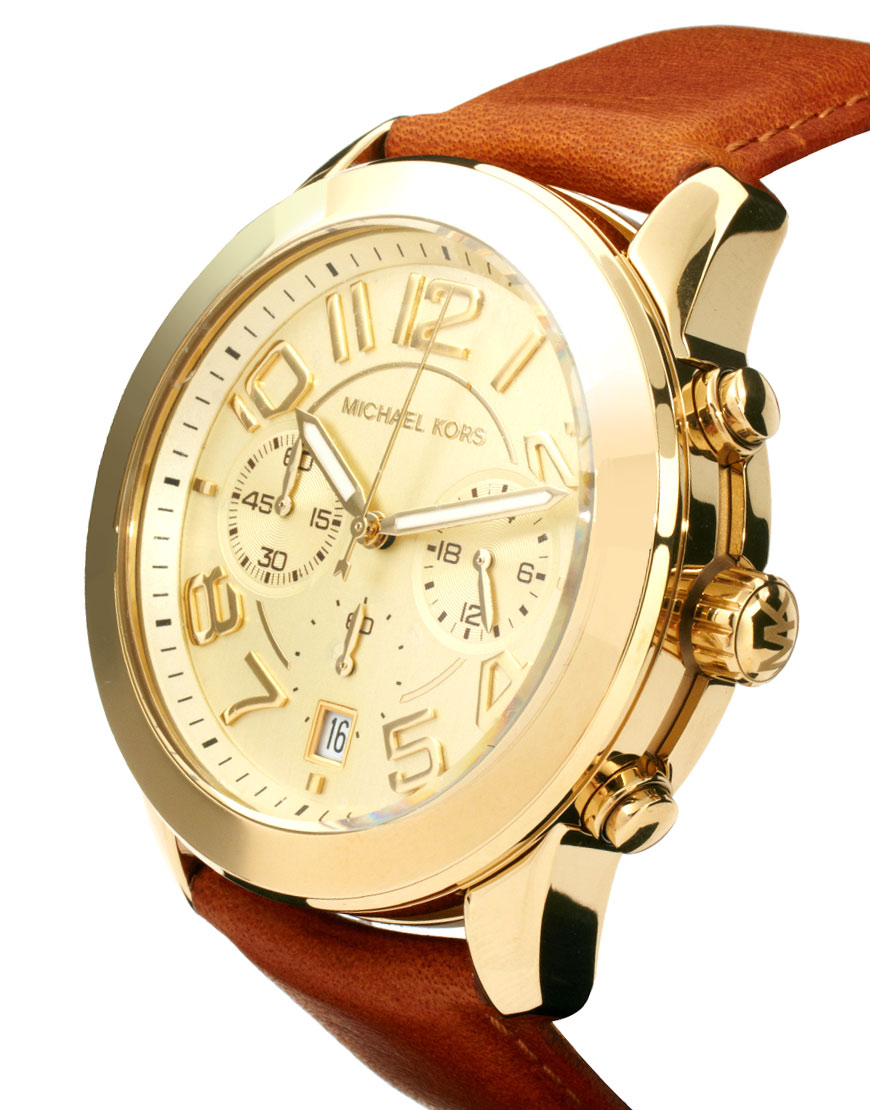 Lyst - Michael kors Leather Strap Watch with Gold ...
