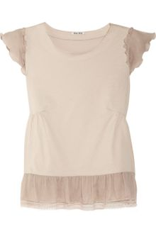 Miu Miu Silk trimmed Cotton jersey Top - Lyst
