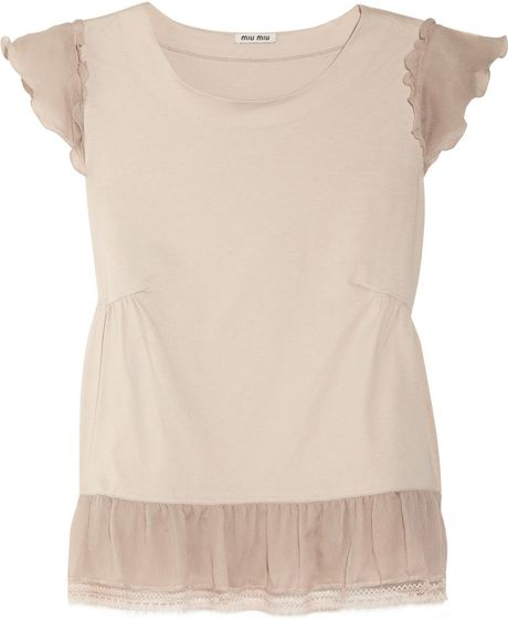 Miu Miu Silktrimmed Cottonjersey Top in Pink (blush)