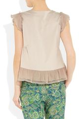 Miu Miu Silktrimmed Cottonjersey Top in Pink (blush) - Lyst