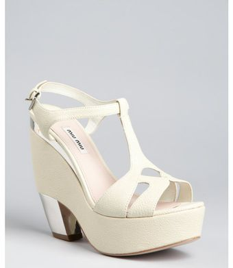 Miu Miu Cream Leather and Metal Tstrap Platforms - Lyst