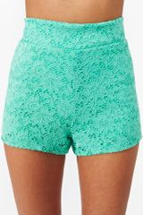 Nasty Gal Delia Lace Shorts in Blue (mint) - Lyst