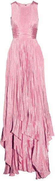 Oscar De La Renta Pleated Washedsatin Gown in Pink