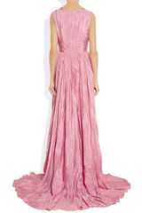 Oscar De La Renta Pleated Washedsatin Gown in Pink - Lyst