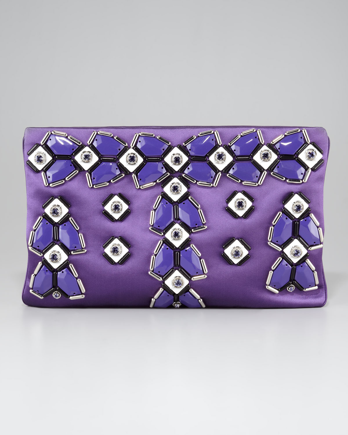 popular tote bag with brown handles - Prada Jeweled Flat Clutch in Pink (viola) | Lyst