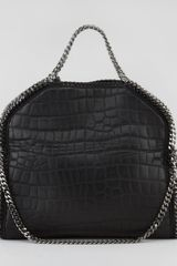 Stella McCartney Crocodileembossed Foldover Falabella Tote Black - Lyst