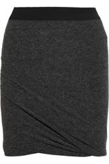 T By Alexander Wang Draped Stretchjersey Skirt