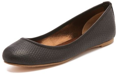 Twelfth Street By Cynthia Vincent Sage Embossed Ballet Flats in Gray (black) - Lyst