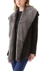 Vince Hooded Shearling Coat - Lyst