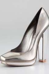 Yves Saint Laurent Metallic Mirrorheeled Pump - Lyst