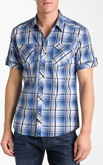 7 Diamonds Blue On Blue Plaid Woven Shirt - Lyst