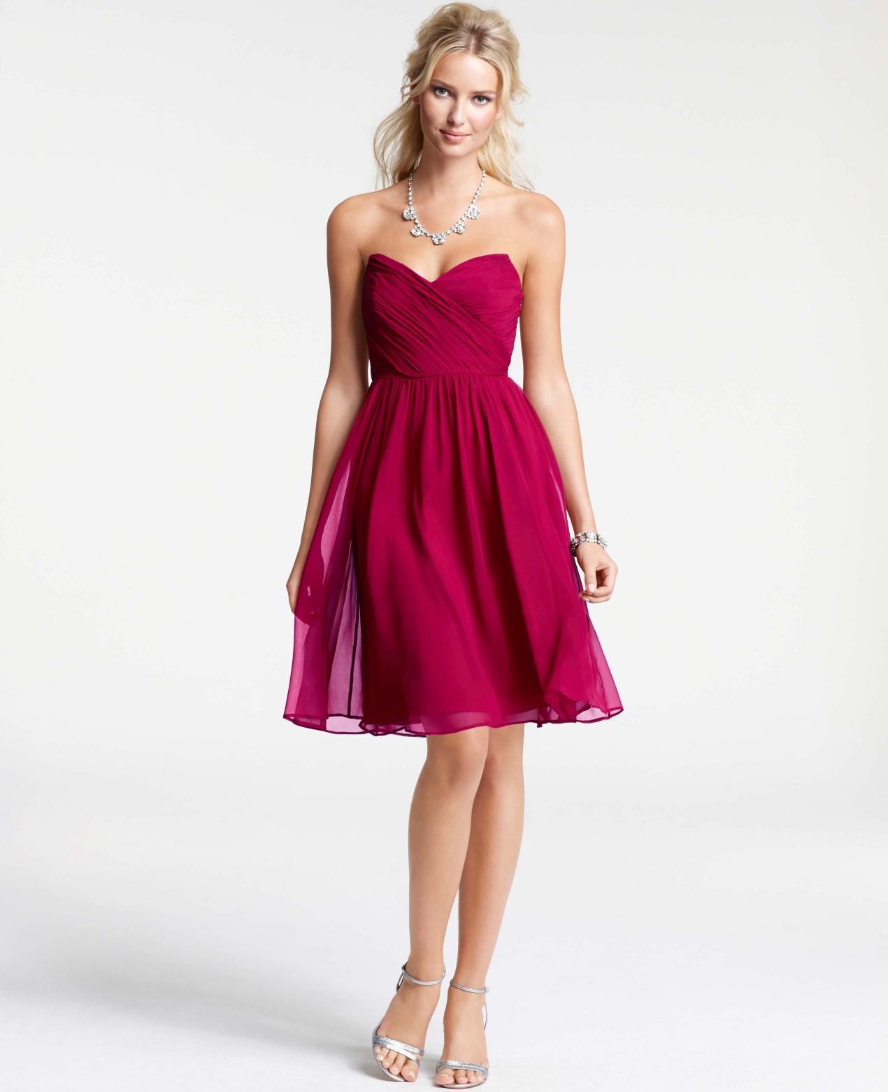Ann taylor silk georgette modern strapless bridesmaid for Anne taylor wedding dress