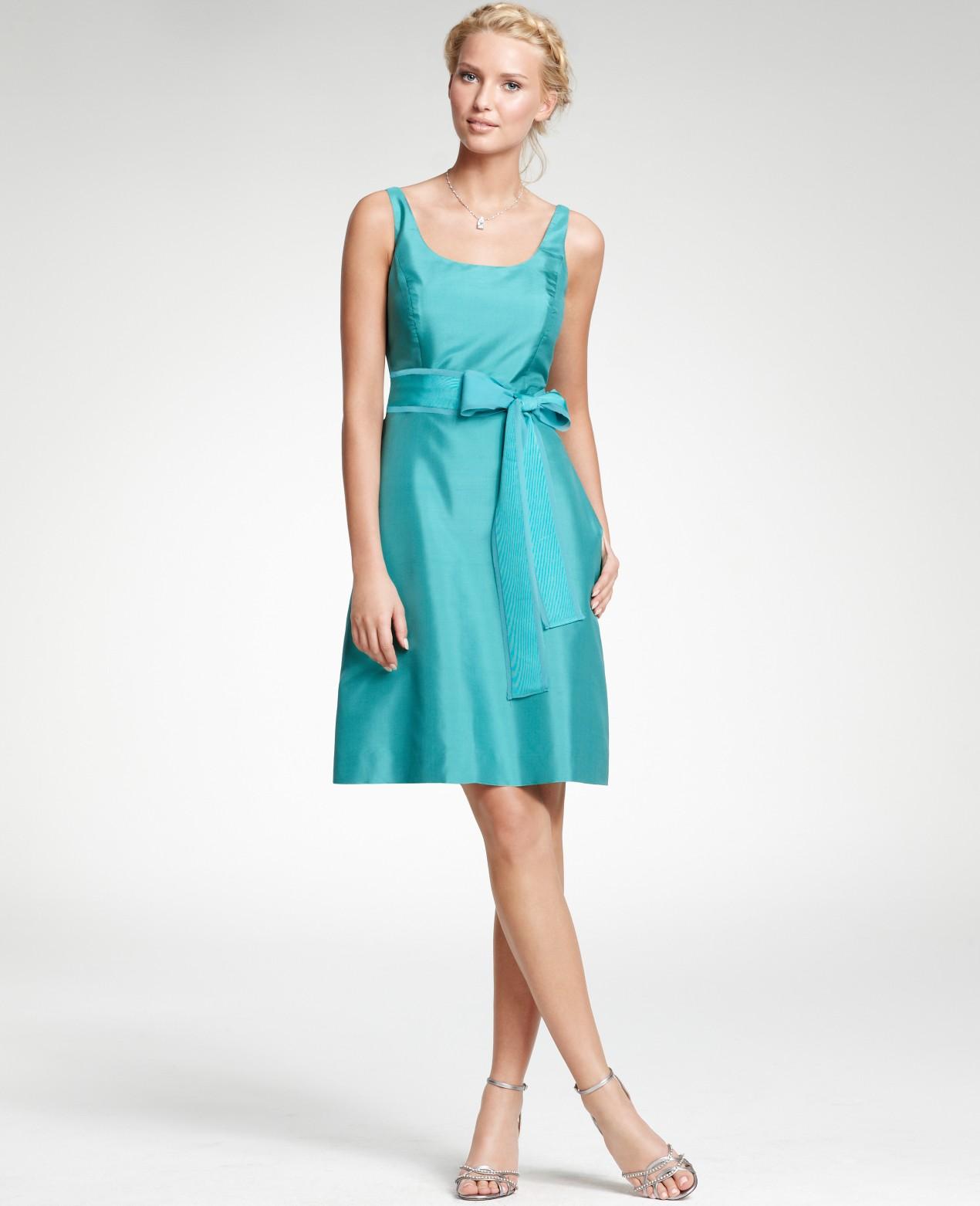 Ann Taylor Silk Dupioni Scoop Neck Bridesmaid Dress in