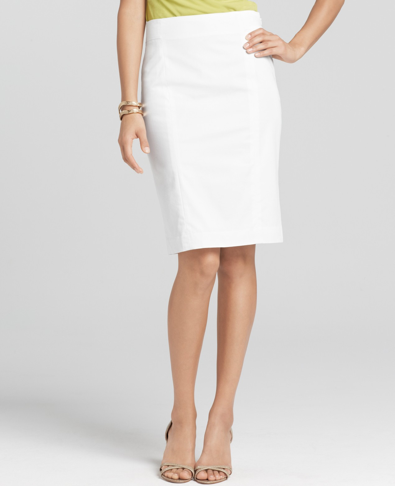 Ann taylor Back Zip Polished Cotton Pencil Skirt in White | Lyst