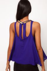 Asos Collection Embellished Swing Cami with Cut Outs in Blue (cobalt) - Lyst
