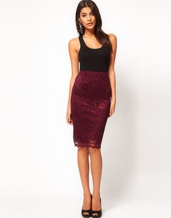 ASOS Collection  Pencil Skirt in Lace with Scallop Hem - Lyst