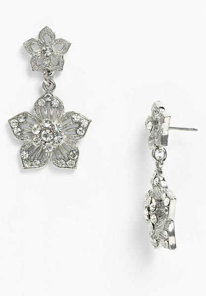 Cara Accessories Double Flower Drop Earrings in Silver (silver/ clear crystal)