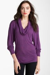 Caslon® Cowl Neck Stripe Top - Lyst