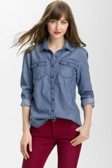 Caslon® Boyfriend Fit Denim Shirt - Lyst