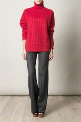 Christopher Kane Mohair Rollneck Sweater in Red - Lyst