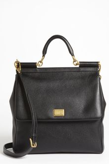 Dolce & Gabbana Flat Miss Sicily Large Leather Satchel - Lyst