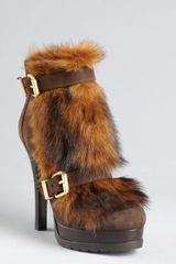 Fendi Brown Leather and Shearling Double Buckle Detail Ankle Boots in Brown - Lyst