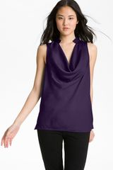 Halogen Drape Neck Sleeveless Blouse - Lyst