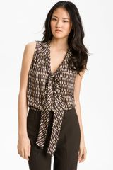 Halogen Sleeveless Tie Neck Blouse - Lyst