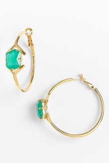 Kate Spade Colored Stone Hoop Earrings - Lyst