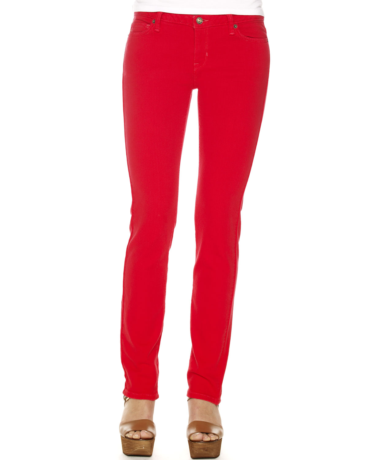 Michael kors Colored Skinny Jeans in Red | Lyst