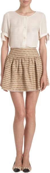 Opening Ceremony Striped Skirt in Brown - Lyst