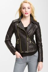 Sam Edelman Quilted Leather Moto Jacket - Lyst