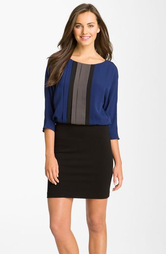 Taylor Dresses Pleated Colorblock Dress - Lyst